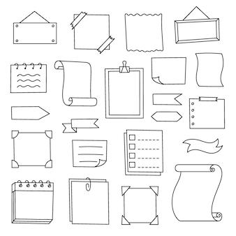 Doodle definir elementos desenhados à mão para o caderno e planejador do diário coleção de quadros de decoração