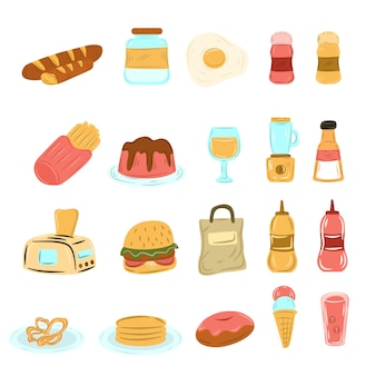 Doodle desenhado à mão, bebida, comida diferente