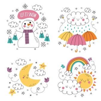 Doodle desenhado à mão conjunto de ilustrações de adesivos meteorológicos