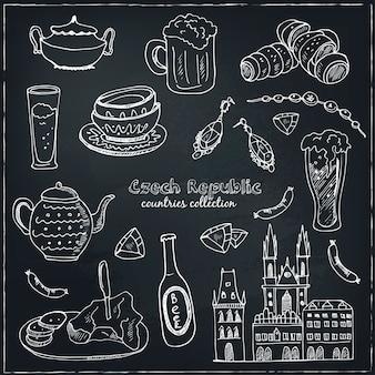 Doodle desenhado à mão conjunto de viagem da república tcheca