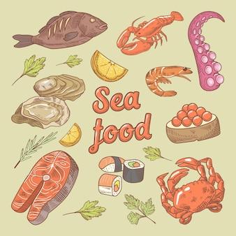 Doodle desenhado à mão de frutos do mar