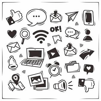 Doodle desenhado à mão de ícones de mídia social