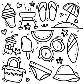 Doodle desenhado à mão de ícones de verão