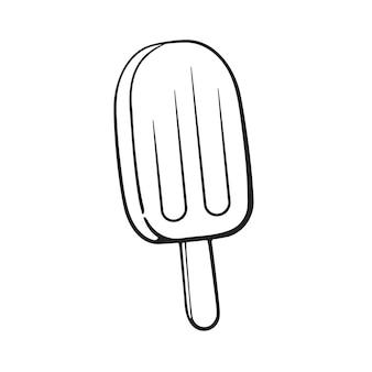 Doodle desenhado à mão de picolé de fruta picolé de gelo desenho de desenho ilustração vetorial