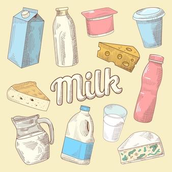 Doodle desenhado à mão de produtos lácteos com leite