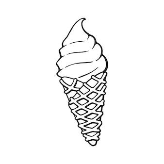 Doodle desenhado à mão de sorvete no cone waffle desenho de desenho ilustração vetorial