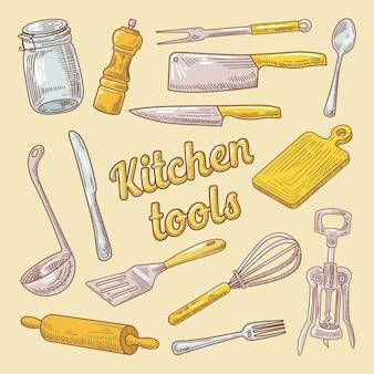 Doodle desenhado à mão de utensílios de cozinha