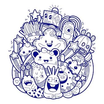 Doodle desenhado à mão fofo