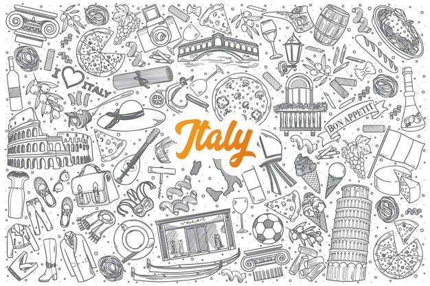 Doodle desenhado à mão na itália definir fundo com letras laranja