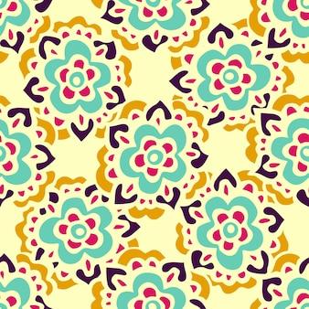 Doodle desenhado à mão padrão floral vibrante sem costura