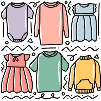 Doodle desenhado à mão várias roupas com ícones e elementos de design