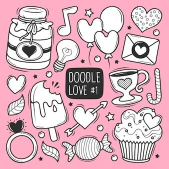 Doodle desenhado amor de mão