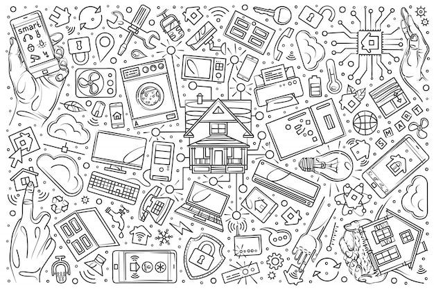 Doodle desenhado conjunto de casa inteligente de mão