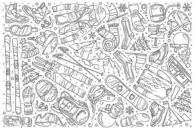 Doodle desenhado conjunto de esqui de mão