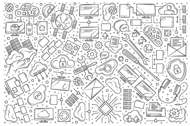 Doodle desenhado conjunto de hospedagem de mão