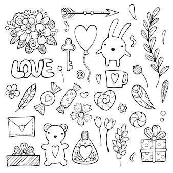 Doodle desenhado de mão amor e sentimentos.