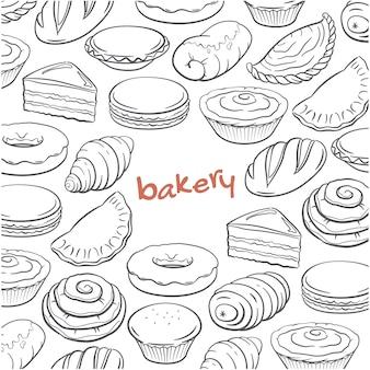 Doodle desenhado de mão conjunto com elementos de padaria