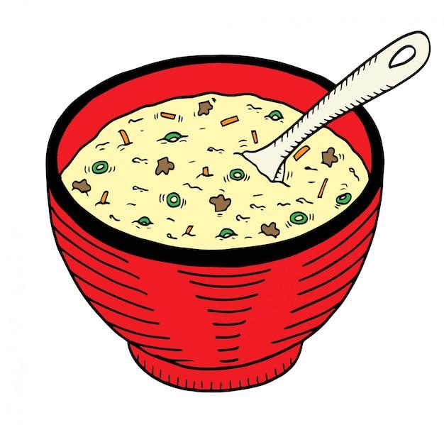 Doodle desenhado de mão simples de uma tigela de sopa