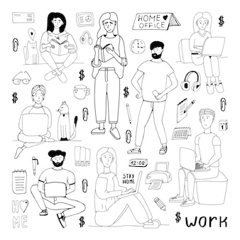 Doodle desenhado do vetor fofo mão definido com pessoas, homens e mulheres. fique em casa, trabalhe em casa. freelance. quarentena ícones positivos do doodle, elementos para casa. isolado em um fundo branco.