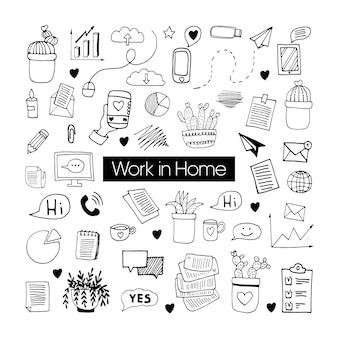 Doodle desenhado do vetor fofo mão definido sobre coronavírus, covid-19, ficar em casa, trabalhar em casa. proteção contra pandemia. quarentena ícones positivos do doodle, elementos para casa. isolado em um fundo branco.