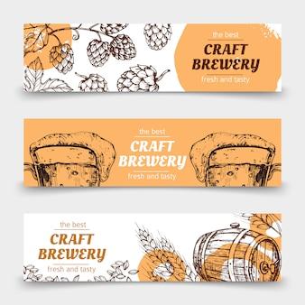 Doodle desenho cervejaria banners de vetor vintage com cerveja e lúpulo