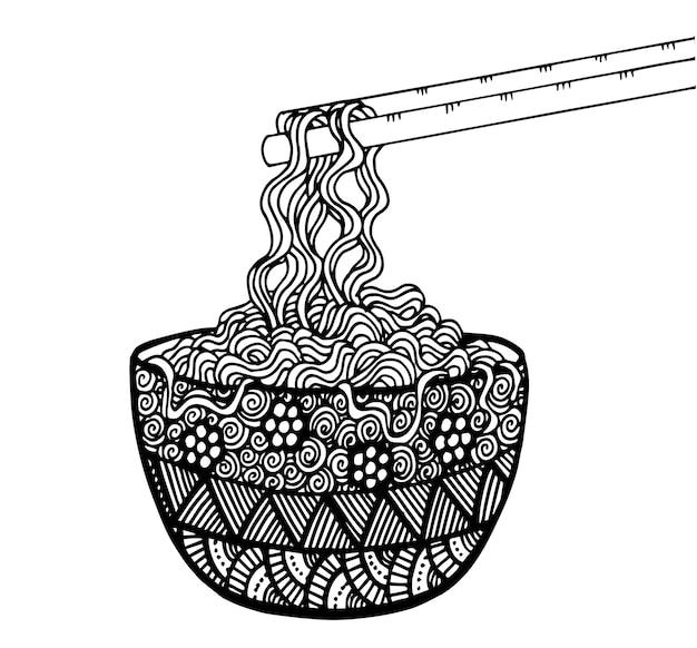 Doodle desenho de mão de macarrão