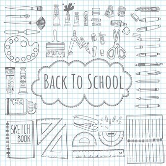 Doodle desenho de volta para o modelo de escola com material escolar.