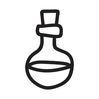 Doodle desenho vetorial de garrafa com uma poção mágica. ilustração de mão desenhada para decoração e design.