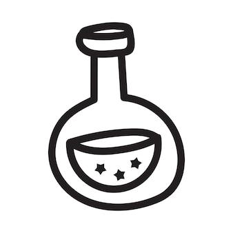 Doodle desenho vetorial de garrafa com uma poção mágica. perfeito para cartões, adesivos e impressões. ilustração de mão desenhada para decoração e design.