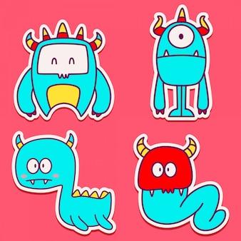 Doodle design de etiqueta de personagem de desenho animado de monstro