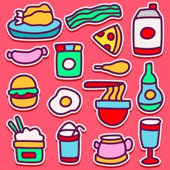 Doodle design ilustrações de alimentos