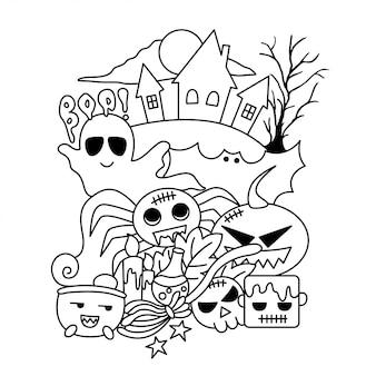 Doodle do castelo do dia das bruxas
