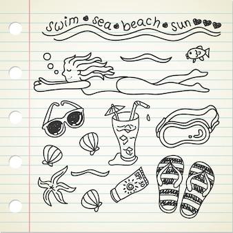 Doodle do tema da natação na praia