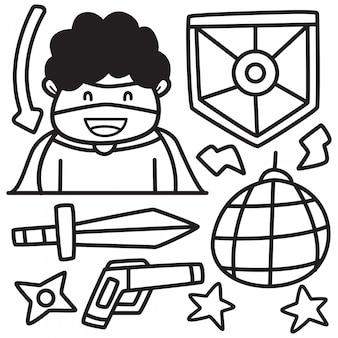 Doodle dos desenhos animados adesivo herói design