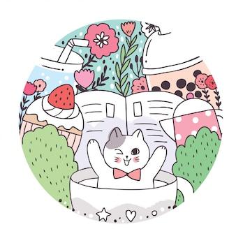 Doodle dos desenhos animados gatos bonitos e quadro de círculo doce e café