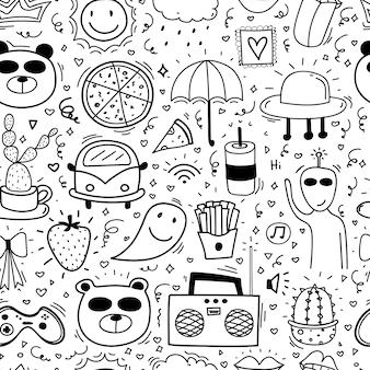 Doodle dos desenhos animados sem costura de fundo para criança.