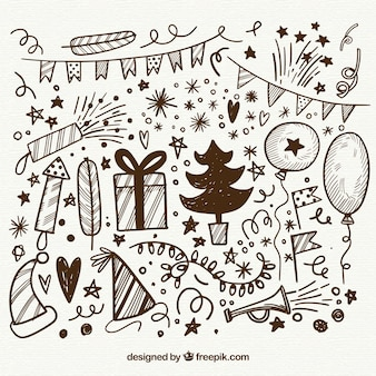 Doodle elementos do ano novo