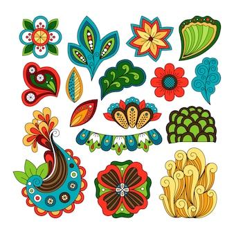 Doodle elementos paisley florais