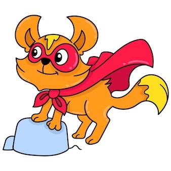 Doodle engraçado de doninha de super-herói mascarado desenhar arte de ilustração vetorial kawaii