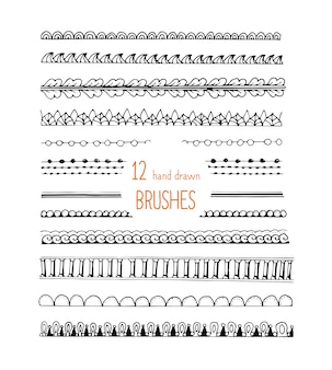Doodle estilo escovas ornamento conjunto