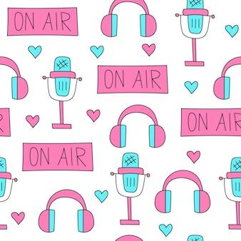Doodle estilo microfone fones de ouvido um sinal no ar padrão sem emenda