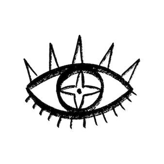 Doodle eyes mão desenhada conjunto. coleção mystic symbols boho. evil eye, lua crescente e arte dos cristais. ilustração vetorial