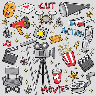Doodle fazendo filme set vector ilustração para colorir