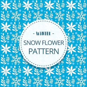 Doodle floco de neve bonito flor inverno sem costura padrão