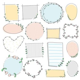Doodle flor e deixe a mão desenhar moldura e borda conjunto colorido