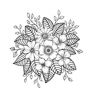 Doodle floral desenhada de mão