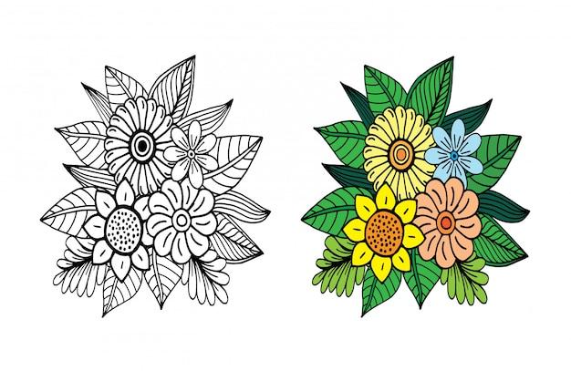 Doodle floral desenhado de mão
