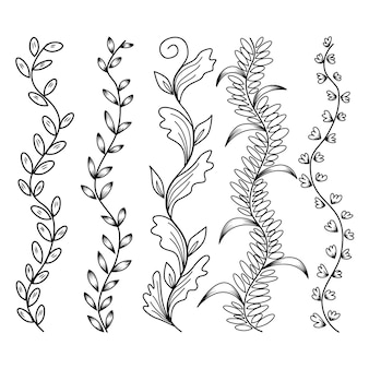 Doodle floral flor padrão e plano de fundo