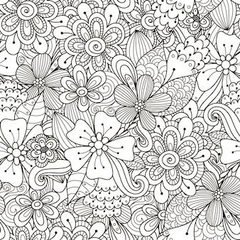 Doodle floral preto e branco sem costura padrão