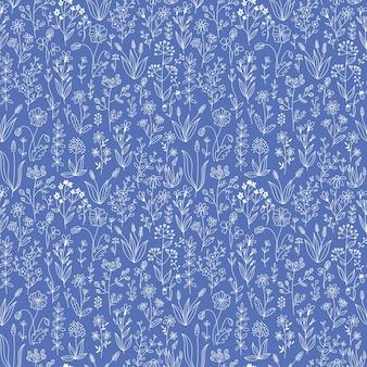 Doodle floral sem costura padrão azul.